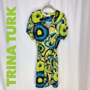 Trina Turk silk asymmetrical floral straight dress